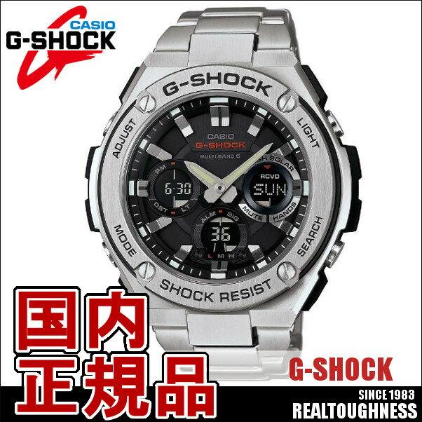 CASIO G-SHOCK ジーショック メンズ 腕時計 GST-W110D-1AJF 電波ソーラー 電波時計 Gスチール アナデジ ブラック シルバー