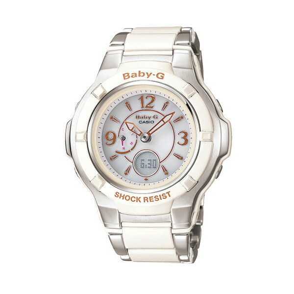 CASIO/BABY-G/カシオ ベビーG コンポジットライン 電波ソーラー 腕時計 うでどけい レディース LADIE'S ホワイト シルバー BGA-1200C-7BJF