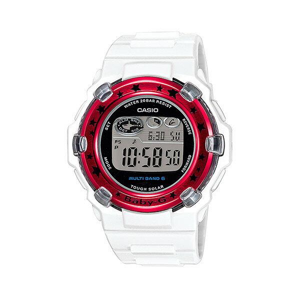 CASIO/BABY-G/カシオ ベビーG Trepper トリッパー 電波ソーラー ソーラー電波 腕時計 うでどけい レディース LADIE'S ホワイト レッド BGR-3000GS-7JF