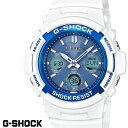 CASIO G-SHOCK ジーショック 電波ソーラー 白 ホワイト ライトブルー デジタル アナログ ブランド メンズ 腕時計 AWG-…