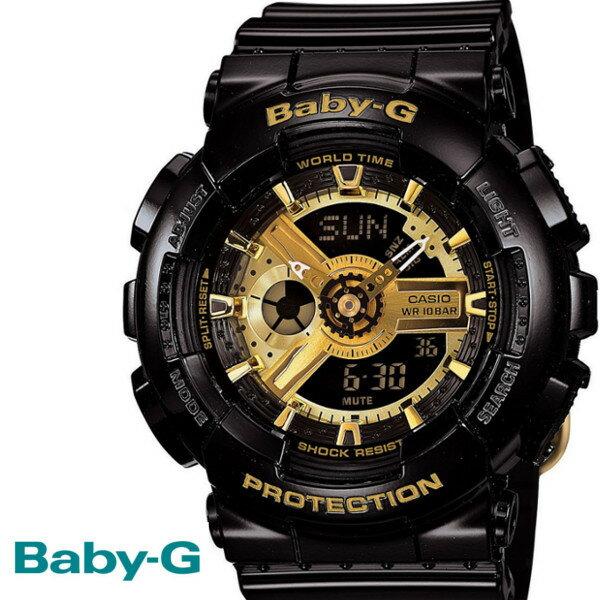 BABY-G カシオ ベビーG ビッグケース 腕時計 うでどけい レディース LADIE'S ブラック ゴールド BA-110-1A CASIO BABY−G