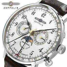 ツェッペリン 腕時計 ZEPPELIN 時計 Zeppelin号誕生 クロノグラフ 腕時計 メンズ 7036-1 シルバー ブラック