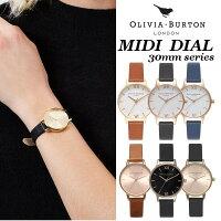 【OliviaBurtonオリビアバートン】MIDIDIALビッグダイヤル30mm腕時計うでどけいレディースブラック本革レザーウォッチローズゴールドクオーツ