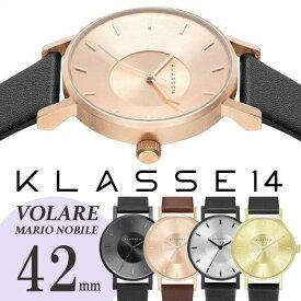 【送料無料/あす楽】KLASSE14 クラス14 クラッセ 腕時計 VOLARE レザーベルト 42mm うでどけい KLASSE14 Mario Nobile ブラック ゴールド ローズゴールド メンズ レディース
