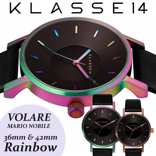 【送料無料】KLASSE14 クラス14 クラッセ 腕時計 MARIO NOBILE VOLARE RAINBOW レザーベルト 36mm 42mm うでどけい レインボー ブラック KLASSE14 VO15TI001M VO15TI001W