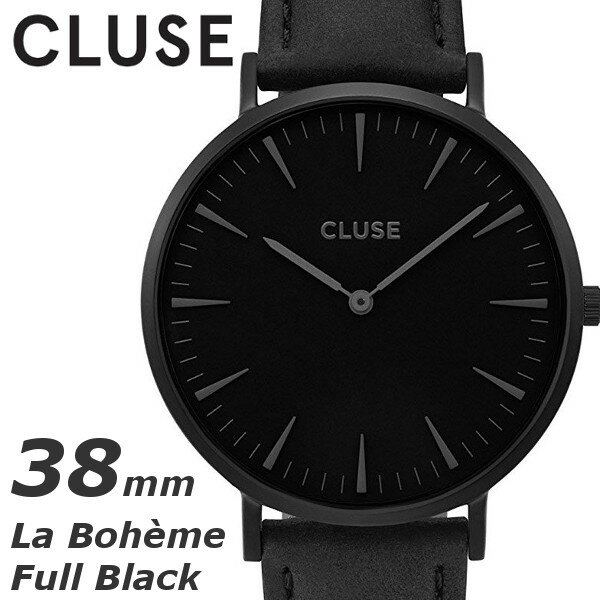 【あす楽 送料無料】【 CLUSE クルース 】腕時計 うでどけい メンズ レディース 本革 クオーツ ブラック 38mm レザーストラップ CL18501 La Boheme Full Black ラ・ボエーム フルブラック