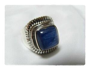引き込まれるような魅力のブルー・・・スクエア形・カヤナイトのシルバー925リング#14 天然石ジュエリーのお店 リング おしゃれ シルバー925 プレゼントにもおすすめ♪ ハッピーエイト