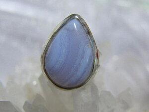 透明感のあるミルキーブルー・・・しずく形ブルーレースアゲートのシルバー925リング#10 天然石ジュエリーのお店 リング おしゃれ シルバー925 プレゼントにもおすすめ♪ ハッピーエイト