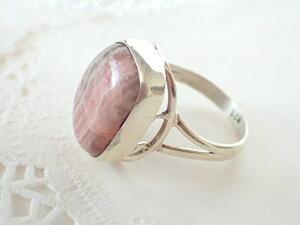 インカローズ (ロードクロサイト) デザイン シルバー925 リング ピンク スクエア 長方形 シンプル 縦縞 #16号 天然石ジュエリーのお店 リング おしゃれ シルバー925 プレゼントにもおすすめ