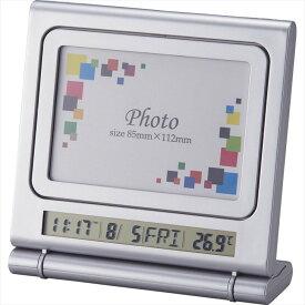 フォトクロックマグボード 6147【時計 写真立て カレンダー アラーム デジタル 温度計 オフィス デスク おき型 置型 卓上 プラスチック製フォトフレーム インテリア】