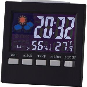 カラーウェザークロック 6140【時計 おき型 置型 卓上 置時計 デジタル カレンダー アラーム 温度 湿度 温湿度 天気予報 インテリア おしゃれ】[tr]