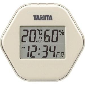 タニタ デジタル温湿度計 TT573IV 【インフルエンザ 熱中症 正確 シンプル 見やすい 温度計 室温 時計 デジタル】[tr]