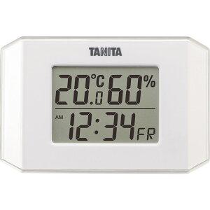 タニタ デジタル温湿度計 TT574WH 【インフルエンザ 熱中症 正確 シンプル 見やすい 温度計 室温 時計 デジタル】[tr]