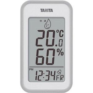 タニタ デジタル温湿度計 TT-559GY 【インフルエンザ 熱中症 正確 シンプル 見やすい 温度計 室温 時計 デジタル】[tr]