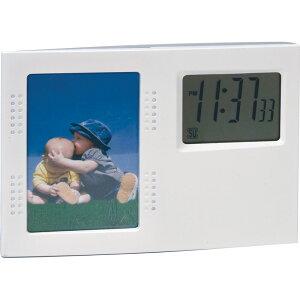 フォトスタンドクロック D2412【販促 ばらまき ノベルティ 写真立て フォトフレーム フォトクロック 置き時計 インテリア 】