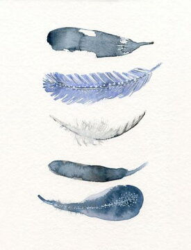 THECLAYPLAY|WATERCOLORBIRDFEATHERS(blue/navy)|A3アートプリント/ポスター