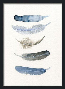 THECLAYPLAY|WATERCOLORBIRDFEATHERS(blue/black)|A4アートプリント/ポスター