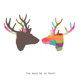LOUISE ART STUDIO | YOU MAKE ME SO HAPPY (portrait/brown reindeer) | DECOR ANIMAL ART | A3 ポスター/アートプリント