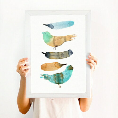 【在庫残り1】THE CLAY PLAY | BIRD AND FEATHER WALL ART | A2 アートプリント/ポスター