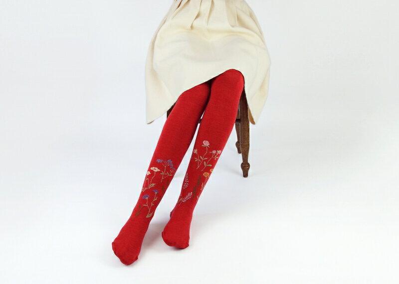 【在庫残り1】KURI BOTELLA (クリ ボテラ) | floral (red) | タイツ