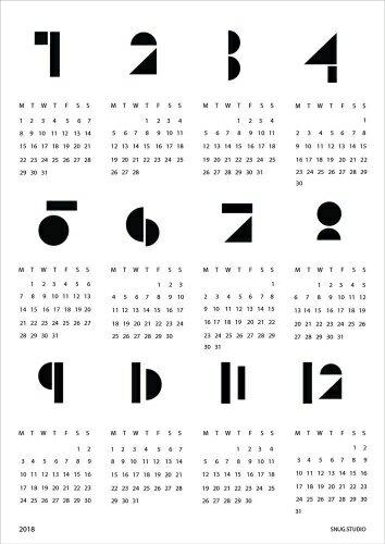 snug.studio | SNUG.TOYBLOCKS calendar 2018 | A2 ポスターカレンダー2018 (white)