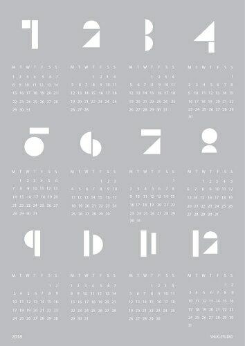 snug.studio | SNUG.TOYBLOCKS calendar 2018 | A2 ポスターカレンダー2018 (light grey)