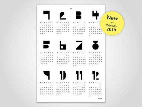 banum | TYPE WALL CALENDAR 2018 (white) | A2 カレンダー/ポスター