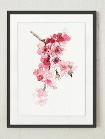 【エントリーでポイント10倍】COLOR WATERCOLOR   Cherry Tree Art Print   A4 アートプリント/ポスター【メール便送料無料 北欧 シンプル おしゃれ】