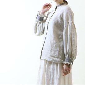 MAGALI | ファナージュリネン・フリル袖・ブラウス (pale grey) | トップス【ナチュラル シンプル】