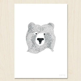 SEVENTY TREE   BEAR OF FEW WORDS   A4 アートプリント/ポスター【UK 北欧 白黒 モノクロ シンプル おしゃれ】
