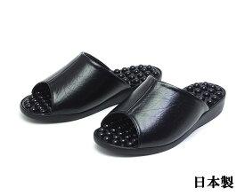 レディースサンダル イボイボインソール 健康サンダル 日本製 ブラック