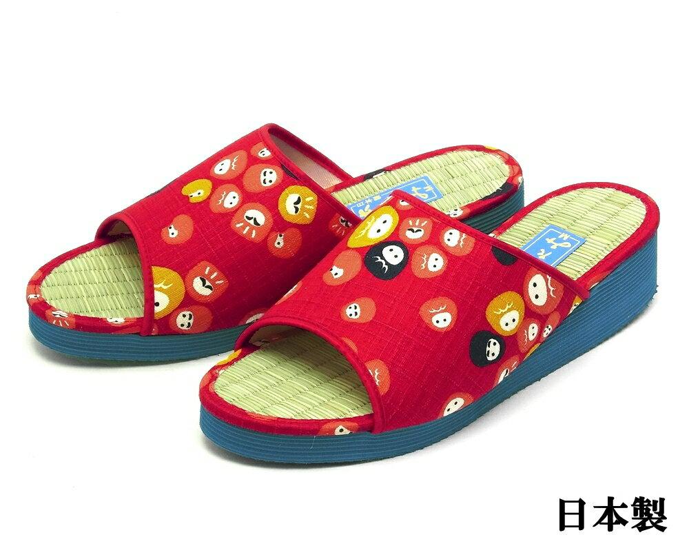 【あす楽対応】女性用 軽量 い草 たたみサンダル 日本製 だるま柄 レッド