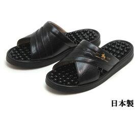 POLO CLUB 紳士ヘップサンダル イボイボ健康サンダル 日本製 ブラック