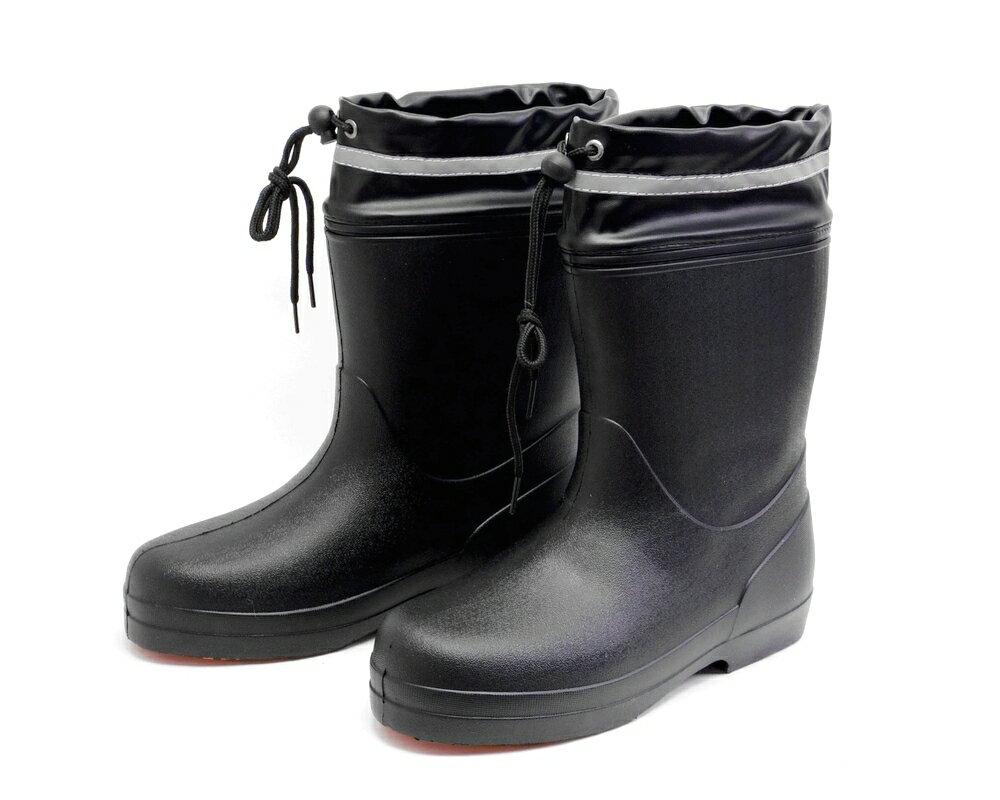 【あす楽対応】メンズ 超軽量 EVA長靴 レインブーツ かるなが ショート カバー付 ブラック