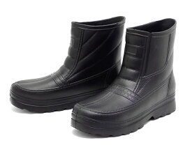 メンズ 超軽量 EVA レインシューズ ショート長靴 ブラック