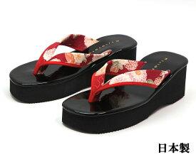 厚底 和柄サンダル エナメル天 花柄鼻緒 軽量ウェッジソール 草履 7453 日本製 レッド