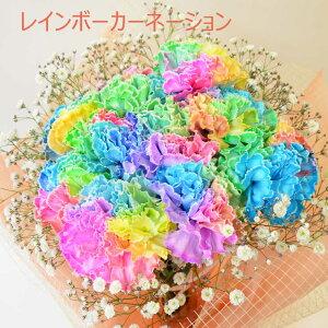 2021母の日 レインボーカーネーション 10本の花束 【虹色のカーネーションの花束を 母の日のプレゼント・ギフトに】【母の日ギフト】