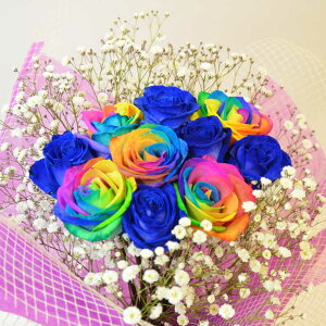 2021 母の日レインボーローズ・ブルーローズ・カスミソウの花束 最安値に挑戦【商品到着後レビュー割り】レインボーローズ・ブルーローズ 薔薇(バラ)の花束を 母の日・プレゼント
