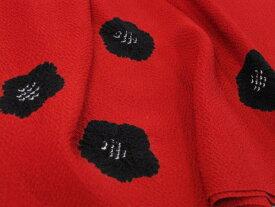 今だけ値下げ!日本製・正絹縮緬 りんだし帯揚げ・絞り帯揚げ 紅赤地黒