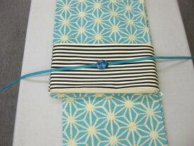 女性 浴衣 ブルー麻の葉柄浴衣細帯 帯留4点セット 縞細帯
