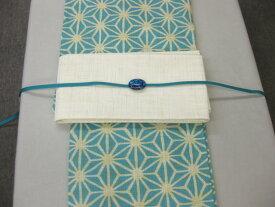 麻の葉ブルー 浴衣帯留4点セット-紗細帯