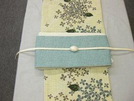 紫陽花(すみ黒)浴衣帯留4点セット-綿細帯