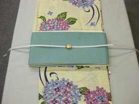 紫陽花()浴衣帯留4点セット-綿細帯