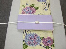 紫陽花(パープル)浴衣帯留4点セット-麻細帯