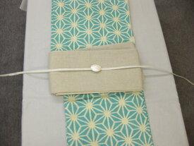 麻の葉ブルー 浴衣帯留4点セット-生成り麻細帯・シルバー三分紐