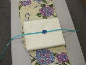 送料無料!紫陽花柄浴衣セット・紗生成り京袋帯