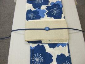 女性用・レディース浴衣・ さくら柄(藍色)浴衣細帯 帯留4点セット 生成り細帯