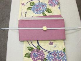女性 浴衣 藤色紫陽花柄浴衣細帯 帯留4点セット 麻細帯