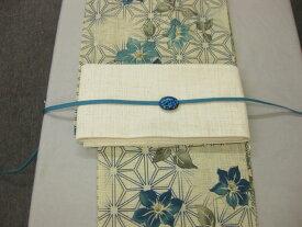 女性用・レディース浴衣・送料無料桔梗(ブルー)柄ゆかた 紗細帯 帯留4点セット