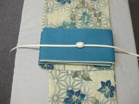 女性用・レディース浴衣 桔梗柄ブルー・4点セット ターコイズブルー麻細帯